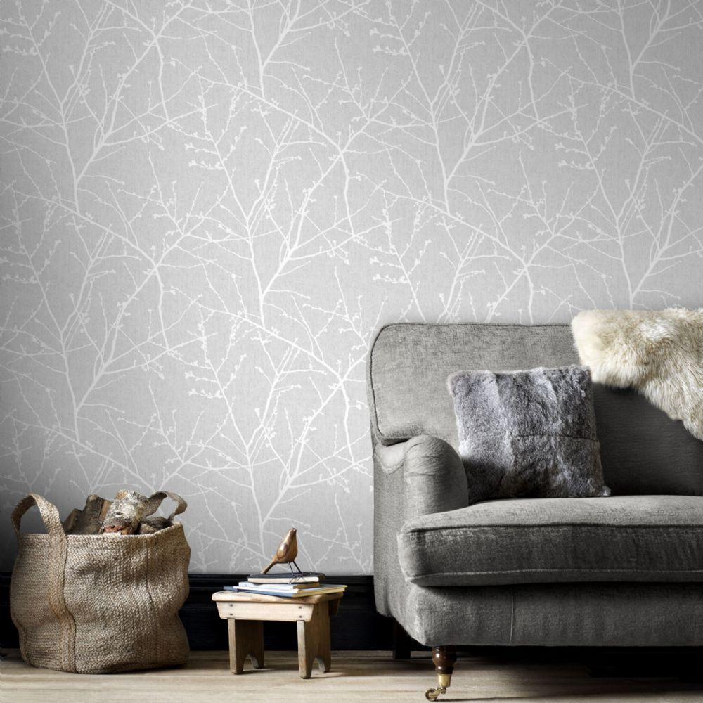 Graham and Brown Innocence Grey 33-274 Wallpaper